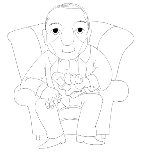 A line drawing of a seated man holding a metered dose inhaler